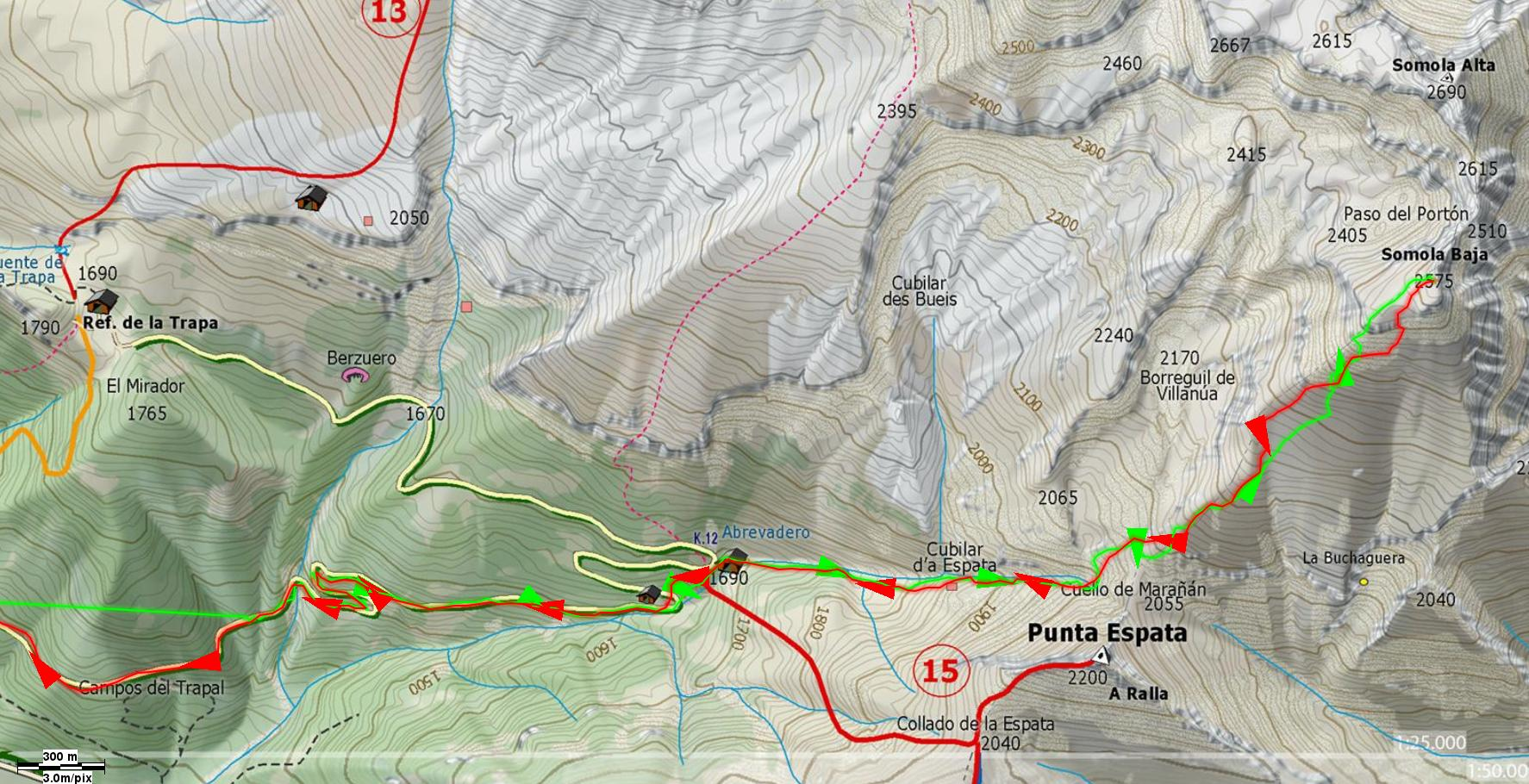 Mapa de detalle de la subida