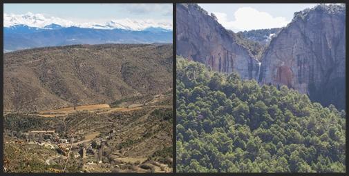 Santa Cruz de Laseros con los Pirineos al fondo, cascadas en los barrancos de San Juan